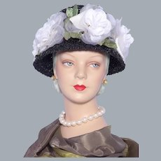 Vintage 1960s Black Straw Hat With White Silk Roses