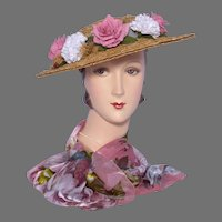 Vintage 1940s-50s Hat Natural Straw Open Weave Pink Roses White Carnations