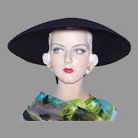 Vintage 1940s-50s Colby Black Wool Felt Picture Hat Open Crown