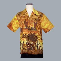 Vintage 1960s Royal Polynesian Hawaiian Shirt  History of Hawaii Print