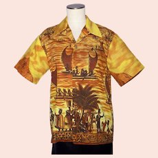 Vintage 1960s Royal Polynesian Hawaiian Shirt  History of Hawaii Print