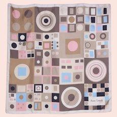 Vintage 1970s Jeanne Lanvin Paris Silk Scarf Geometric Print
