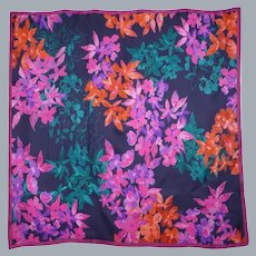 1990 Large Silk Scarf Colorful Floral Print