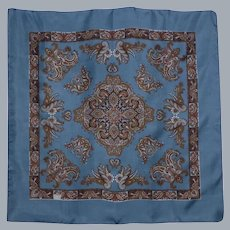 Liberty of London Steel Blue Silk Scarf Paisley Print 1980s Made in England