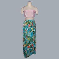 Vintage 1980s Mario Forte Silk Sarong Style Skirt Tropical Bird Floral Print Deadstock