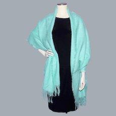 Vintage 1960s-70s Aqua Acrylic Woven Shawl Wrap