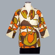 Vintage 1960s Iolani Ladies Tiki Print Shirt Made in Hawaii Surfer Style