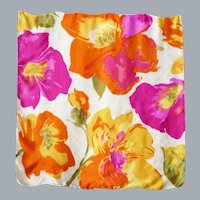 Silk Scarf Huge Colorful Flowers Print 1990s
