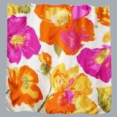 Silk Scarf Huge Colorful Flowers Print 1990s