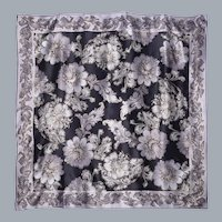 Oscar de la Renta Black Silk Scarf Floral Print Silver and Gold Highlights 1990s