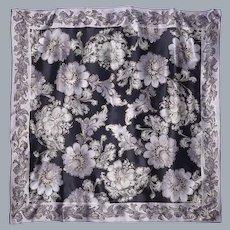 Oscar de la Renta Black Silk Scarf Floral Print Silver and Gold Highlights 1990s