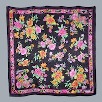 Black Silk Scarf Floral Print Made by Vakko 1990s