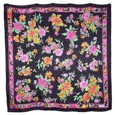 Black Silk Scarf Floral Print Made by Vakko 1990s