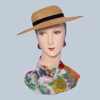 Vintage 1940s-50s Betmar Natural Straw Hat Boater Style