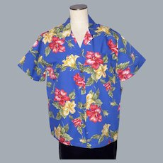 Hilo Hattie Hawaiian Blue Aloha Shirt Hibiscus Flower Print Deadstock