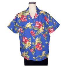 Hilo Hattie Hawaiian Blue Aloha Shirt Hibiscus Flower Print Deadstock