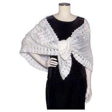 Vintage 1960s White Acrylic Yarn Shawl Wrap