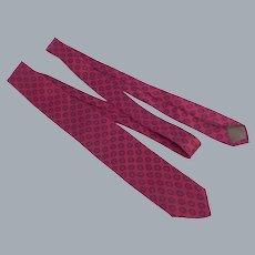 Vintage 1960s Silk Foulard Print Skinny Necktie Michelsons London England
