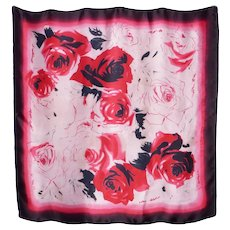 Red Roses Watercolor Print Silk Scarf 1990s