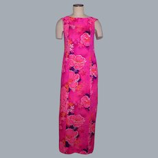 Vintage 1970s Hawaiian Maxi Dress Maier Specialty Shops Bright Pink Floral Print