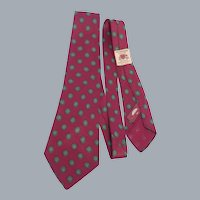 Vintage 1940s Silk Glenshire Foulard Print Necktie Originally Sold at Meyer Greentree