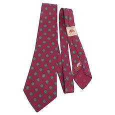 Vintage 1940s Silk Glenshire Foulard Print Necktie Originally Sold at Meyer Greentree