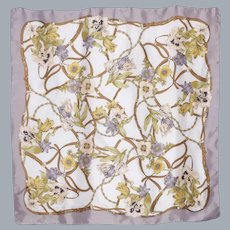 Silk Scarf Floral Equestrian Print Lilies and Tulips and Bridles