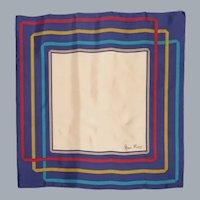 Vintage 1970s Nina Ricci Paris Silk Scarf Squares and Herringbone Print Made in France