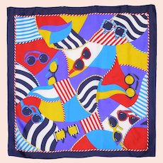 Colorful Echo Sunglasses Print Silk Blend Scarf 1990s
