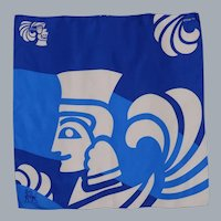 Frey Wille Magic Winged Sphinx Blue and White Silk Scarf 1990s