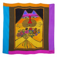 Laurel Burch Cat Print Silk Scarf Brilliant Jewel Tone Colors