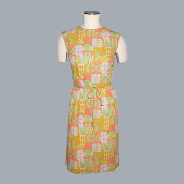 Vintage 1960s Luisa Spagnoli Jersey Knit Mod Print Dress Made in Perugia italy