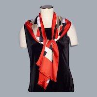 Vintage 1970s Bold Print Silk Scarf by Brauchbar for Liberty Made in Switzerland
