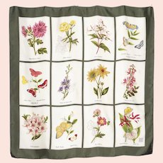 American Museum of Natural History Silk Scarf Flowers and Butterflies 1990s