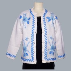 Vintage 1960s White Wool Knit Cardigan Sweater Crewel Embroidery Blue Flowers