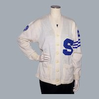 Vintage 1950s Varsity Wool Sweater Football Letterman Cardigan