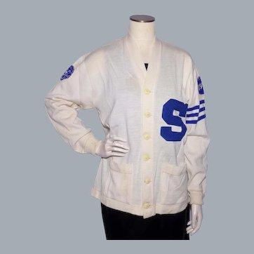 Vintage 1950s Varsity Wool Sweater Football Letterman Cardigan