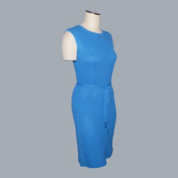 Vintage 1960s Blue Cotton Knit Dress Made by Eisa Verona Italy