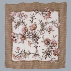 Ralph Lauren Silk Scarf Floral and Wicker Print 1990s