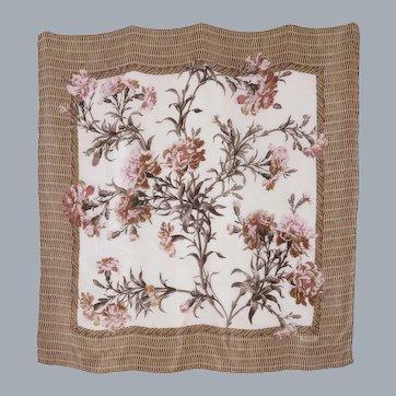 Ralph Lauren Silk Scarf Floral and Wicker Print 1990s