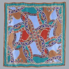 Oscar de la Renta Silk Scarf Southwestern Concho Inspired Print 1990s