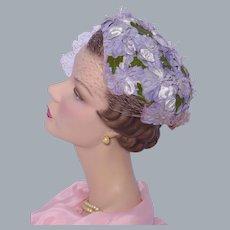 Vintage 1950s Floral Close Hat Pale Lavender Velvet Flowers