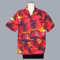Royal Hawaiian Creations Aloha Shirt Orchids Palm Trees and Island Sunsets 1990s
