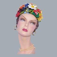 Vintage Don Anderson 1950s-60s Unique Floral Hat Colorful Vinyl flowers
