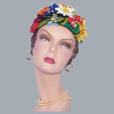 Vintage Don Anderson 1950s-60s Unique Floral Hat Colorful Vinyl flowers