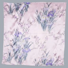 Silk Scarf Pink With Bearded Iris and Cherry Blossom Print Made in Japan 1990s