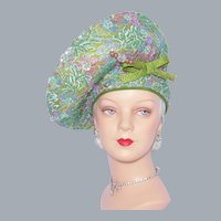 Mr John Moderne Beaded Halo Hat Green Woven Straw With Hatpin 1990s