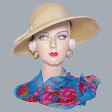 Vintage 1960s Woven Natural Straw Hat Made By In The Winner's Circle