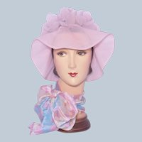 Vintage 1960s Pink Nylon Petals Bucket Hat Beach or Pool Wear