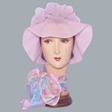 Vintage 1960s Pink Nylon Petals Bucket Hat Beach or Pool Wear